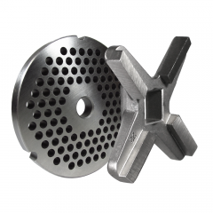 """#22 Grinder plate with 3/16"""" holes and a #22 grinder knife"""