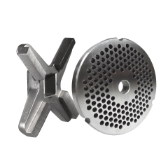 """#32 GRINDER PLATE WITH 3/16"""" HOLES AND A #32 GRINDER KNIFE"""